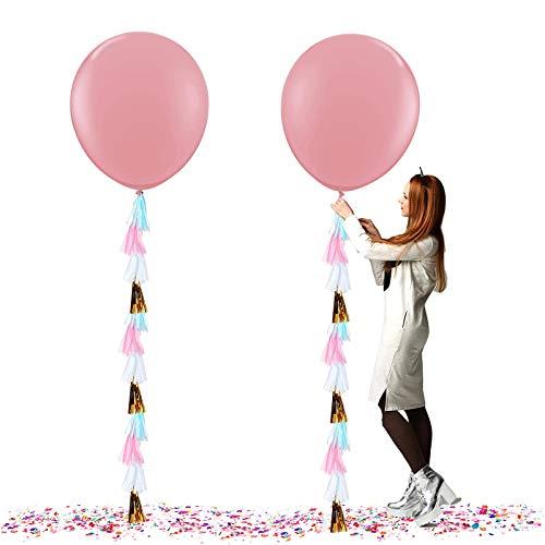 Globos Gigantes de Fiesta, Globos de Colores, Globos Grandes de látex de 36 Gulgadas,para Fiesta Cumpleaños Bodas Bautizo Graduación Navidad Carnaval Celebraciones (Rosado)