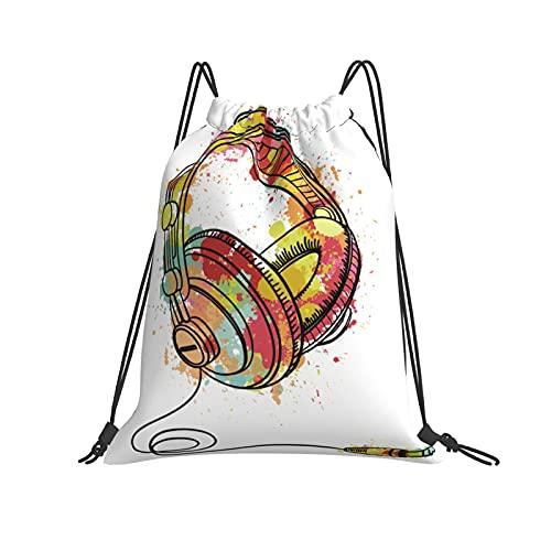 Cuffia colorata coulisse zaino borsa sport palestra escursionismo yoga nuoto viaggio spiaggia zaino per donne uomini, bianco, Taglia unica