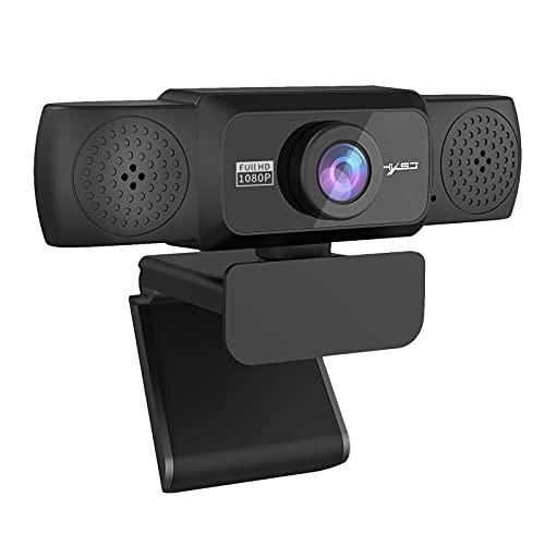 IPOTCH Cámara Web HD 1080p, cámara Web de Ordenador USB con micrófono, cámara de vídeo Full HD para Ordenador portátil, Pantalla Ancha de 90 Grados, cámara