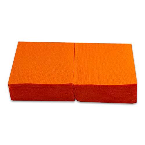 Saten ser22107611Coktail, tovagliolo 20x 20, 2strati, piegati a 1/4, 100Tovaglioli, punta-punta, Arancione