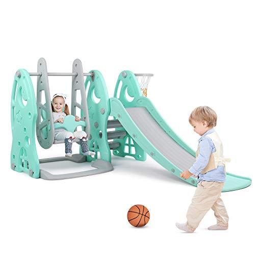 Bamny Scivolo per Bambini con Altalena, Stabile, Sicura Giocattoli per Bambini per Giardino Esterno