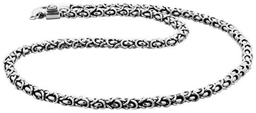 Kuzzoi - Collana bizantina in argento massiccio sterling 925, 345055, collana da uomo dello spessore di 6mm, lunghezza di 50/60cm, con cofanetto e argento, cod. 345055-050