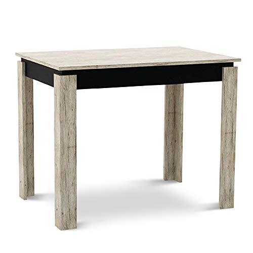 Küchentisch Klein Tisch Esstisch Esszimmertisch 95 x 65 x 76 cm Picard Schwarz für Küche Esszimmer Wohnzimmer