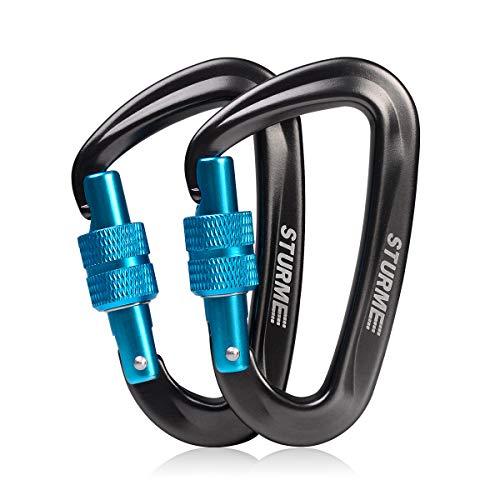 STURME Locking Carabiner Clip -12KN/2697lbs Aluminium Ultra Sturdy & Light, Screwgate Carabiner...
