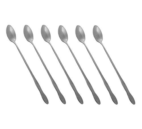 HornTide Mixing Spoon Set 8 Inch da 6 pezzi 20cm Cucchiaio lungo manico per Ice Cream Bevanda fredda succo di frutta cocktail di agitazione e di più - acciaio inox lucidatura a specchio