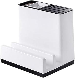 [えみり] 箸立て 包丁立て 鍋蓋ホルダー 多機能 キッチン用品 カトラリー収納 収納ラック 箸ホルダー まな板スタンド デザイン 大容量 (ホワイト)