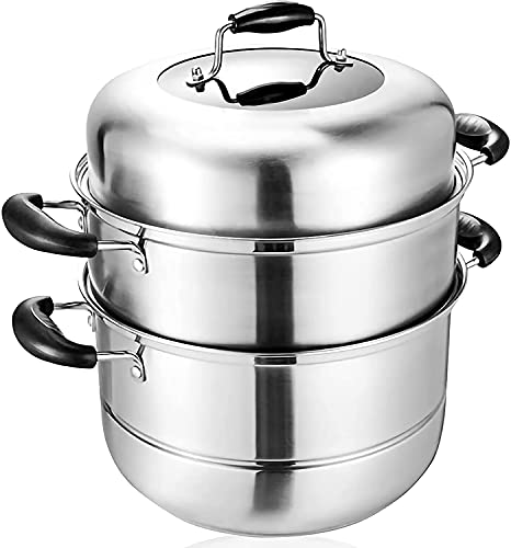 MANO 2-Tier Stainless Steel Steamer Pot 11.8 Inch Steam Pot Set Cooking Steamer With Glass Lid Steaming Cookware Pots With Handle
