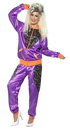 Smiffys-43080L Chándal Retro de Tactel, para Mujer, con Chaqueta y pantalón, Color púrpura, L-EU Tamaño 44-46 (Smiffy'S 43080L)