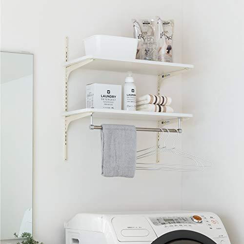 南海プライウッド ランドリー可動棚 ランドリーラック 洗濯機収納 棚2段 ハンガーバー付き ホワイト 幅60cm LT2P-CW-A