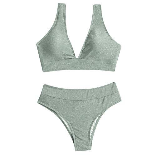 DFENG Badeanzug Damen Brazilian Zweiteiliger Bikini Set V-Ausschnitt Bikinioberteil Triangel Bikinihose Sportlich Bademode Tankini Bralette Wrap Beach Kleidung