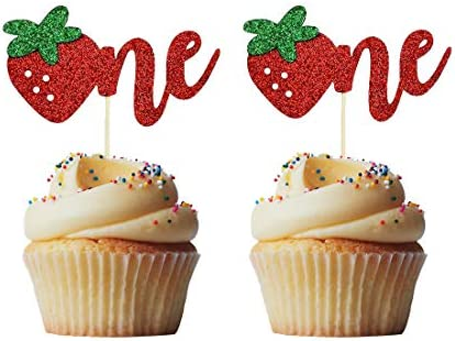 Morndew 24 PCS Strawberry One 1st Cupcake Toppers for First Birthday Anniversary Baby Shower product image