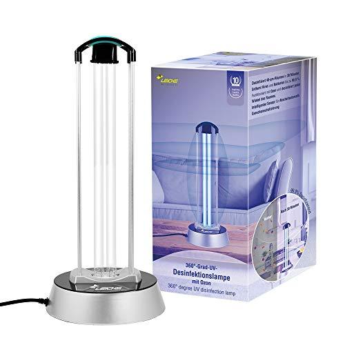 LEICKE UV Desinfektionslampe mit OZON | UVC Sterilisationslampe Antibakterielle Rate 99%, Luftreiniger, UV Lampe, Sterilisator für Schulen, Büros, Wohnzimmern, Toiletten, Haustier-Bereiche