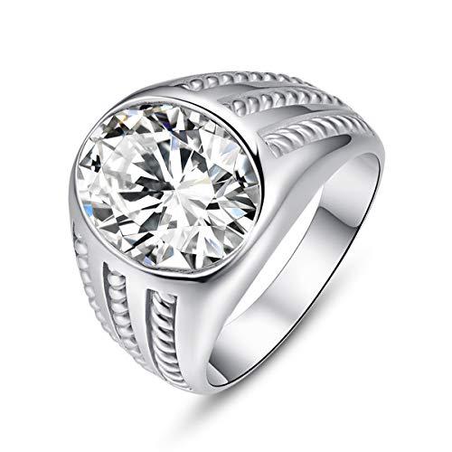 Bonlavie 925 Sterling Silver Mens Rings Oval Cut White Cubic Zirconia CZ Stones Anniversary Ring for Boys Size V 1/2