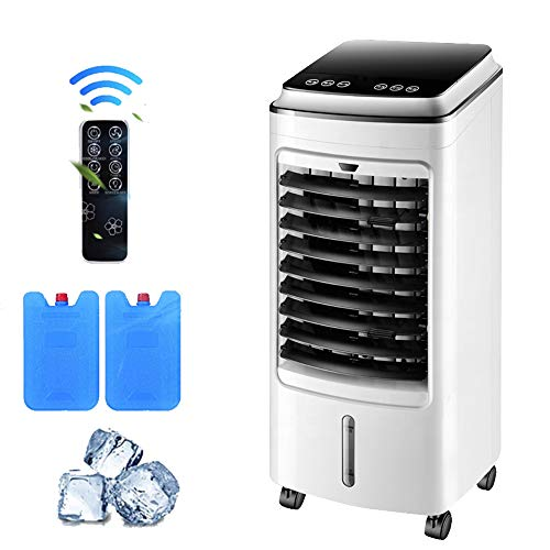 YUTGMasst Portable Air Conditioner,Mini Evaporative Personal Air Cooler,3In1 Air Purifiers,Humidifier,Misting Fan, 4H Timer with Remote,Super Quiet Evaporative Cooler,3 Speeds, 4 Wheels And 2 Ice Box