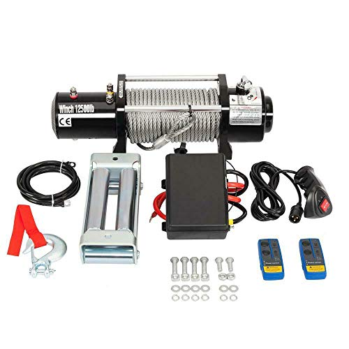 12500. Load Capacity Electric Winch Steel Cable Trailer Truck SUV ATV UTV Boat Recovery Winch with Wire and Wireless Remote Control