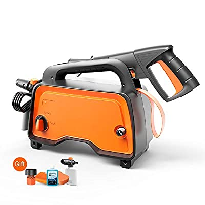 QXMEI Portable Electric High Pressure Cleaner 2 Ways To Connect Water Sources Pressure Cleaning Machine Automatic Shutdown System Home Pressure Washer,Orange-1200W from QXMEI
