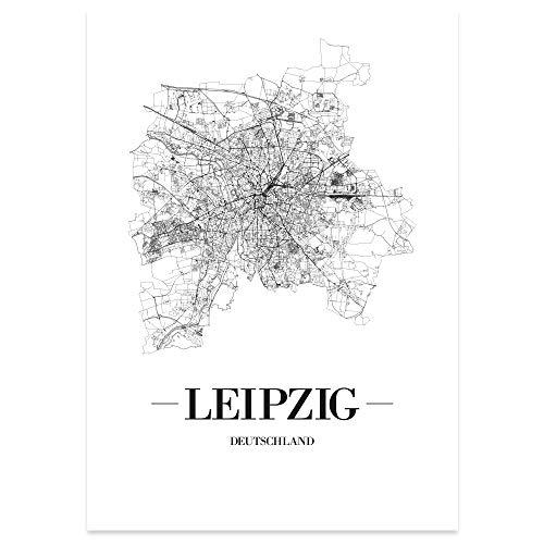 JUNIWORDS Stadtposter, Leipzig, Wähle eine Größe, 30 x 40 cm, Poster, Schrift A, Weiß