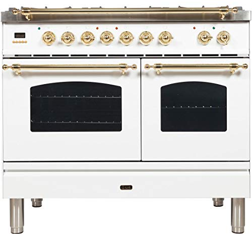 Ilve UPDN100FDMPB Nostalgie Series 40 Inch Dual Fuel Convection Freestanding Range, 5 Sealed Brass Burners, 4 cu.ft. Total Oven Capacity in White, Brass Trim (Natural Gas)