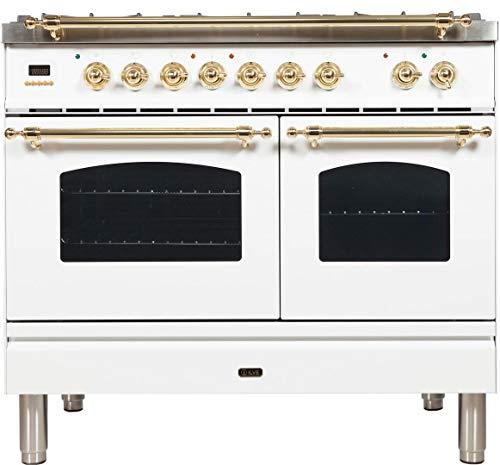 Ilve UPDN100FDMPBLP Nostalgie Series 40 Inch Dual Fuel Convection Freestanding Range, 5 Sealed Brass Burners, 4 cu.ft. Total Oven Capacity in White, Brass Trim (Liquid Propane)