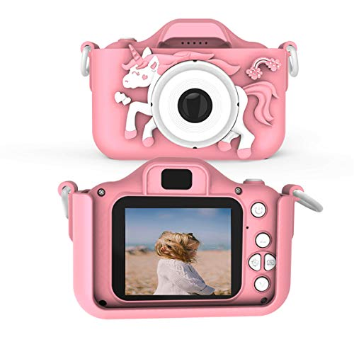Kids Camera for Boys and Girls 20MP for Picture1080P Video Cartoon Unicorn Dual Camera with MP3 Player Games Include 32GB SD Card (pink)…