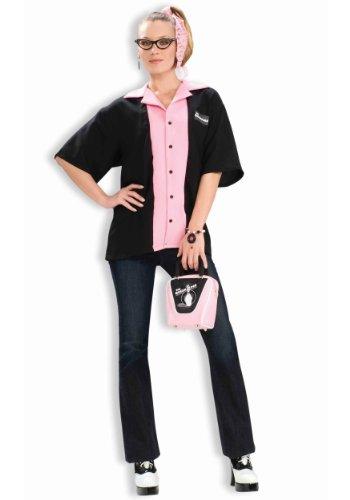 Forum Novelties Women's Flirting with The 50's Queen Pinks Bowling Shirt Costume, Black/Pink, Standard