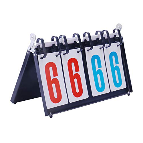 N\A Flip Scoreboard Score Keeper, 4 Digital Multifunction Portable Multifunction Score Flipper 00 a 99 para Baloncesto, Fútbol, Fútbol, Tenis, Voleibol, Ping-Pong, Juegos De Competición De Bád