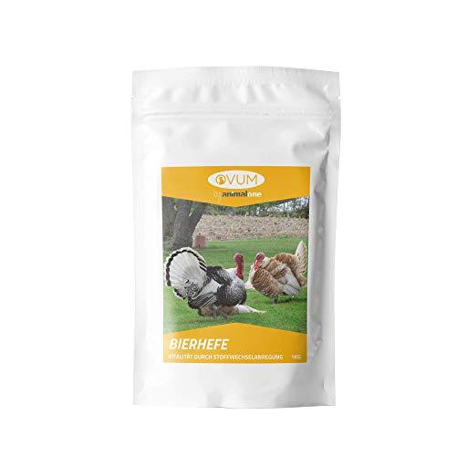 animalone Ovum - BIERHEFE PUR 1 KG für Geflügel, Rassetauben & Brieftauben - Für EIN gesundes Federkleid & Gefiederglanz - Nahrungsergänzung