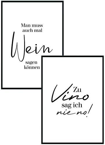 Poster Set Bild DIN A4 - Zu Vino sag ich nie no - Plakat Spruch lustiges Wein Geschenk Wine Sprüche Typografie schwarz weiß Küche Wohnzimmer Deko - ohne Rahmen - Geschenk (1x Vino + 1x Wein)