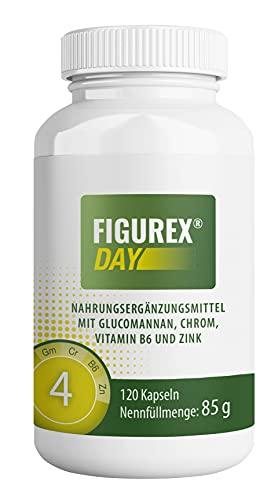 FIGUREX Day Stoffwechsel Kur Kapseln - schnell Abnehmen ohne Hunger mit Glucomannan - natürlicher Appetitzügler und Appetithemmer mit und ohne Diät oder Sport, 120 Kapseln, 85 g