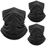 WTACTFUL 3 Pack - Lightweight Soft Neck Gaiter Neck Warmer Face Mask Windproof Protection Cover for Motorcycle Cycling Fishing Hunting Hiking Riding Climbing Ski Snowboard Outdoor Sports Black LY-A-02