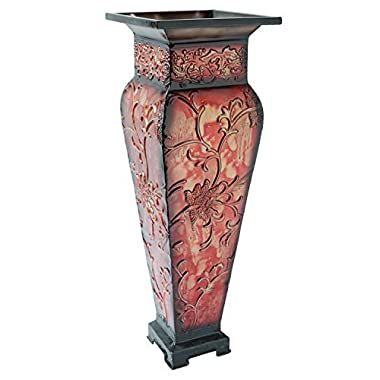 Hosley's 21.25  Tall Embossed Floor Vase, Red. Ideal Gift for Home Office, Party, Weddings, Office Decor, Dried Floral O4