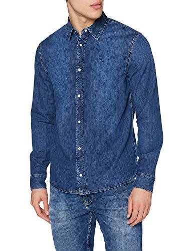 Calvin Klein Jeans Herren Slim Foundation Shirt Hemd, Bb056-Mid Blue, S