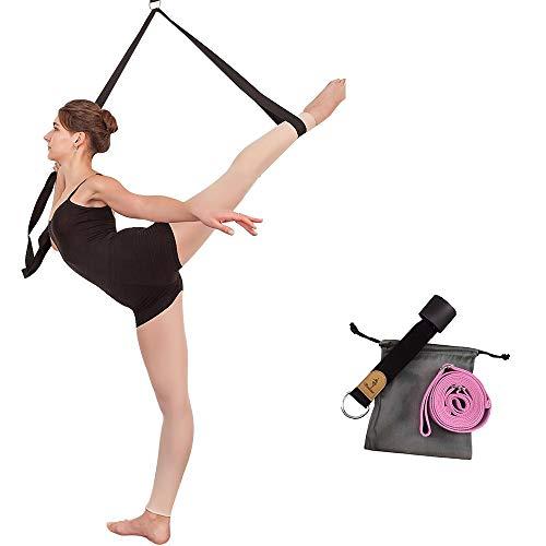 Bezioner Correa para Yoga 3m Cinturón con Hebilla Metal D-Anillos de Poliéster Algodón Resistente para Ejercicios de Estiramiento, Fitness,Yoga,Pilates y Flexibilidad,Hogar (Rosa)