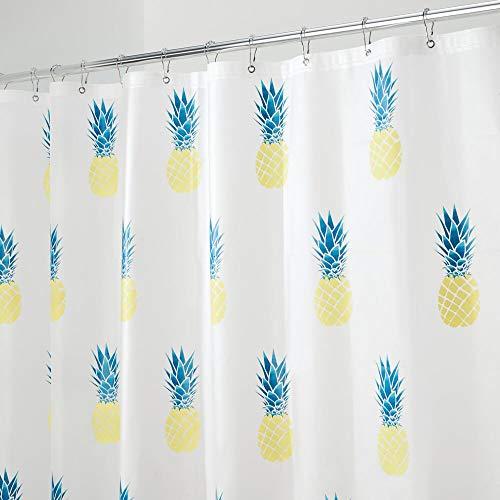 mDesign Duschvorhang mit Ananas - perfektes Badzubehör - langlebige Duschgardine - mit 12 verstärkten Ösen - gelb/petrolblau