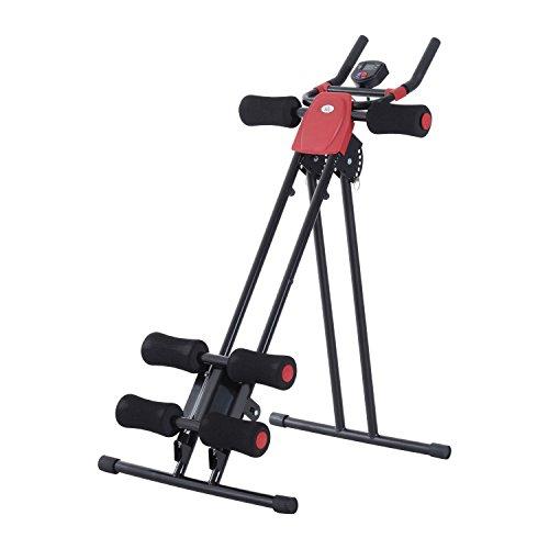 HOMCOM Bauchtrainer Rückentrainer Heimtrainer Fitnessgerät mit Muskeltrainer LED Display