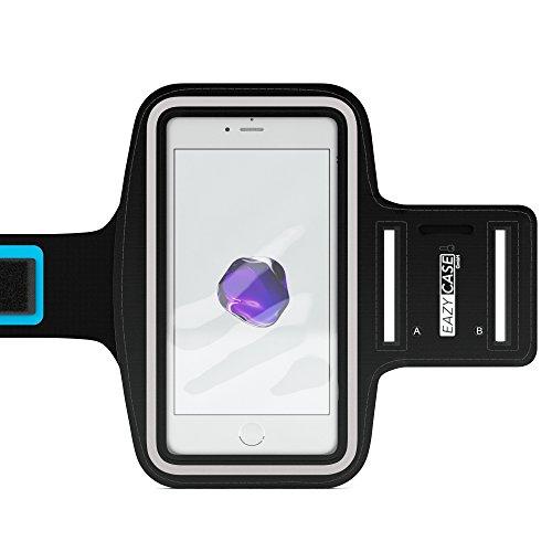 EAZY CASE Sport Armband für Smartphones bis 5,5 Zoll, schweißfest I Sportarmband Unisex, Sporthülle, Handyhülle, Armtasche mit Kopfhöreröffnung & Schlüsselfach, Schwarz