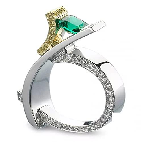 BAJIE Anillo de Boda Plata 925, Anillo de Diamantes de Princesa para Mujer, Anillo de joyería de Plata con Piedras Preciosas de topacio Verde Esmeralda