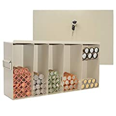 6 Section locking coin box with 6 sections for storing rolled coins. Size is 17.25 x 9 x 4.25 Locking cover with lock and key included. Metal carrying handles on the sides. Stores approximately 50 Penny rolls, 30 Nickel rolls, 50 Dime rolls, 40 Quart...