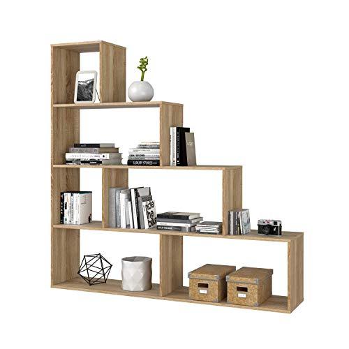 Habitdesign Estantería Decorativa, Librería Salon, Modelo Klum, Acabado en Roble Canadian, Medidas: 145 cm (Alto) x 145 cm (Ancho) x 29 cm (Fondo)