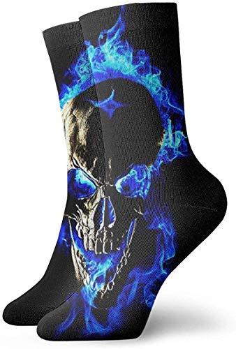 GHJL Socken mit blauem Flammen-Totenkopf, 30 cm