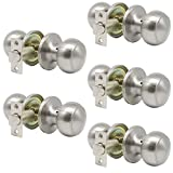 satin door knobs - Probrico Satin Nickel Passage Door Knobs Round Handles for Hall or Closet Knobs Keyless Hardware, 5 Pack