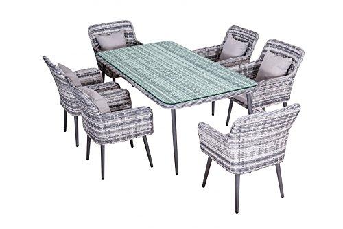 Jet-Line Garten essgruppe Quito Gris Moderne en polyrotin Salon de Jardin 6 chaises + Table 2 m en Aluminium