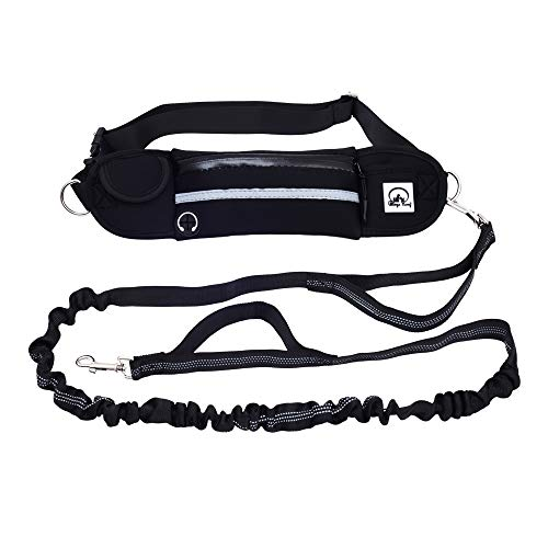 Peteeza Furry Hands Free Dog Leash and Collar for Running Walking Training Hiking, Dual-Handle Reflective Bungee, Adjustable Waist Belt, Shock Absorbing, Ideal for Medium to Large Dogs