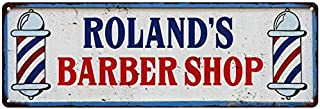 Chico Creek Signs ROLAND'S Barber Shop Hair Salon Personalized Metal Sign Retro 6 x 18 Matte Finish Metal 106180031411