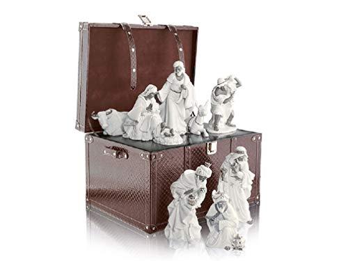 Royal Class – Natividad Belén con 9 figuras de porcelana de color blanco, incluye baúl de madera sintética marrón