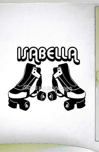personalisierte rollschuhe Extreme sport Ausrüstung Wandaufkleber benutzerdefinierte name roller skating wandtattoo Wohnzimmer Wandbild 48X42CM