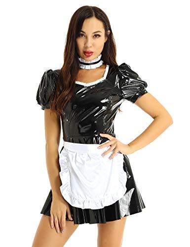 Aislor Damen Kostüm Dienstmädchen Dessous Leder Latex Kleid Uniformen Minikleid, Satin Schürze, Halsband Party Kostüm Gogo Clubwear Gr. S-XL Schwarz Medium