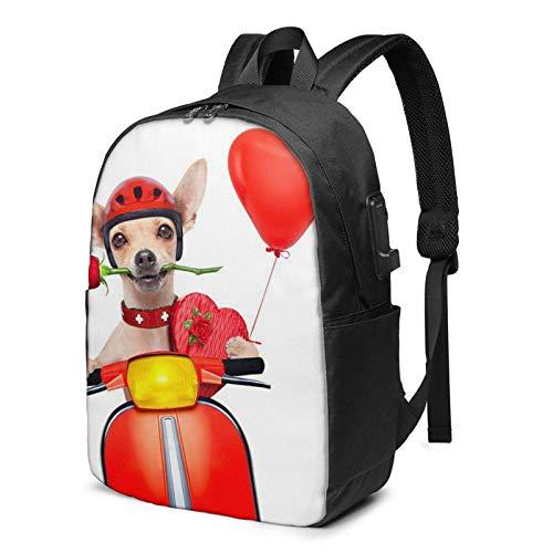 XCNGG Mochila para portátil, Mochila Ligera de Viaje de 17 Pulgadas con Puerto de Carga USB Rose Motor Dog