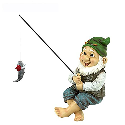 Statua di gnomo da giardino, tata di gnomo da pesca, statua di gnomo da giardino seduto divertente, mini statua di nano, statua di gnomo da giardino decorazione esterna