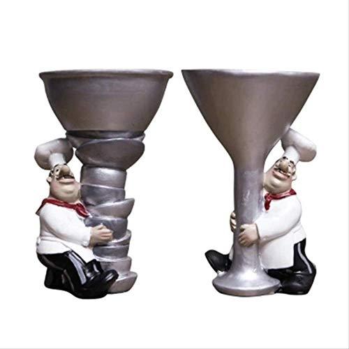 CFLFDC kandelaar Le Chef houdt de kandelaar van wijnglas West Restaurant Cafe gedecoreerd met kandelaar van kunsthars F640466 Coupe Candlestick 10 X 10 X 15cm